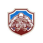 Strongman Lifting Dumbbells Shield Retro Print by Aloysius Patrimonio
