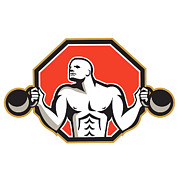 Hexagon Prints - Strongman Lifting Kettlebell Front Retro Print by Aloysius Patrimonio