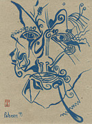 Printmaking Prints - Structure Elements Emotions Abstract FACE Print by Cathy Peterson