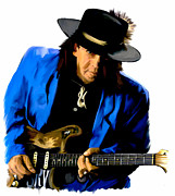 Blues Drawings Posters - Strutting The Blues  Stevie Ray Vaughan Poster by Iconic Images Art Gallery David Pucciarelli