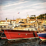 Docked Sailboats Prints - St.Tropez harbor Print by Elena Elisseeva
