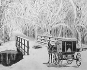 Snow Scene Drawings Originals - Stubborn Horse by Quwatha Valentine