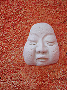 Wall Sculpture Framed Prints - Stucco Face Framed Print by Ellen Henneke