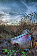 Rowboat Digital Art Posters - Stuck in the Marsh Poster by Michael  Ayers