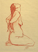 Signed Drawings Prints - Stuckup Female Nude Print by Frederick Hubicki