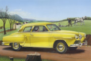 1950s Painting Originals - Studebaker Champion antique americana nostagic rustic rural farm country auto car painting by Walt Curlee