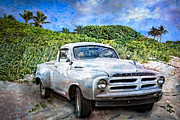Tropical Oceans Framed Prints - Studebaker Goes to the Beach Framed Print by Debra and Dave Vanderlaan