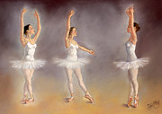 Margaret Merry Framed Prints - Studies of a Ballet Dancer Framed Print by Margaret Merry