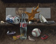 Glass Bottle Painting Posters - Studio Curios Poster by Timothy Jones