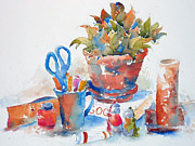 Jars Paintings - Studio Still Life by Pat Katz