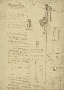 Engineering Prints - Study and calculations for determining friction drawing with notes on gardens of Milanese palace Print by Leonardo Da Vinci