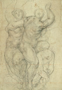 People Drawings Metal Prints - Study for a Group of Nudes Metal Print by Jacopo Pontormo