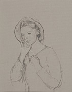 Etching Drawings Framed Prints - Study for Elizabeth Bennet Framed Print by Caroline Hervey Bathurst