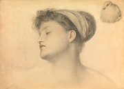 Dove Drawings Metal Prints - Study for Girl with Doves Metal Print by Anthony Frederick Augustus Sandys