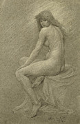 British Drawings Prints - Study for Lilith Print by Robert Fowler