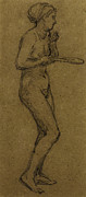 Chalk Drawings - Study for Shuttlecock by Albert Joseph Moore