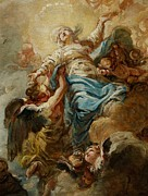 Celestial Painting Posters - Study for the Assumption of the Virgin Poster by Jean Baptiste Deshays de Colleville
