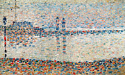Blue Purple Paintings - Study for the Channel at Gravelines Evening by Georges Pierre Seurat