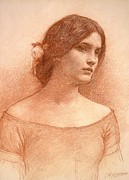Red Pastels Framed Prints - Study for The Lady Clare Framed Print by John William Waterhouse