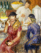 Female Worker Framed Prints - Study for The Soda Fountain Framed Print by William James Glackens