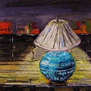 Oil Lamp Drawings Prints - Study Lamp Print by John  Williams