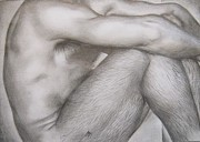 Homoerotic Drawings Metal Prints - Study Metal Print by Michael Flynt