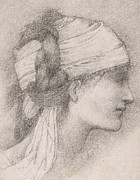 Graphite Drawing Art - Study of a female head to the right by Sir Edward Coley Burne-Jones