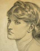 Young Woman Drawings Framed Prints - Study of a Head for The Bower Meadow Framed Print by Dante Charles Gabriel Rossetti