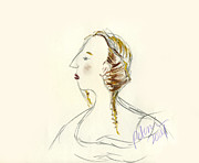 Panel Drawings - Study of a lady looking left with braids by Cathy Peterson 