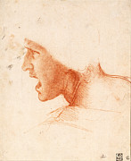 Art Historical Drawings Prints - Study of a Warriors Head for the Battle of Anghiari Print by Leonardo da Vinci