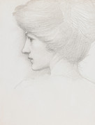 Graphite Drawing Art - Study of a womans head profile to left by Sir Edward Coley Burne-Jones