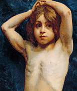 Cage Painting Metal Prints - Study of a Young Boy Metal Print by William John Wainwright