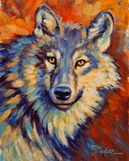 Vivid Colors Painting Posters - Study of Blue Wolf Poster by Theresa Paden