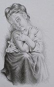 Pencil On Canvas Prints - Study of Bouguereaus La Frileuse  Print by Lisa Marie Szkolnik