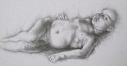 Featured Drawings Prints - Study of Caravaggios Cupid Print by Lisa Marie Szkolnik