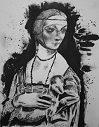 Michael Kulick Framed Prints - study of Lady with an Ermine Framed Print by Michael Kulick