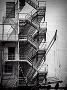 Stairs Downtown Prints - Study of lines and shadows Print by Rudy Umans