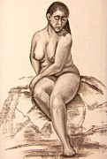 Figure Study Pastels Prints - Study of Woman Seated Print by Christine Schwander