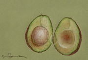 Seed Pod Drawings Posters - Study on Green Poster by Joyce Blank