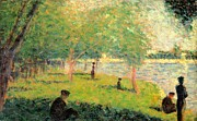 Pond And Trees Painting Acrylic Prints - Study on La Grande Jatte Acrylic Print by Georges Seurat
