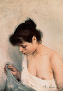 Earring Painting Framed Prints - Study Framed Print by Ramon Casas i Carbo