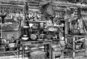 Metamora Indiana Metal Prints - Stuff For Sale bw Metal Print by Mel Steinhauer