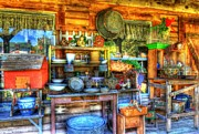 Cabin Mixed Media Acrylic Prints - Stuff For Sale Acrylic Print by Mel Steinhauer