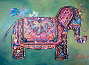 Stuffy Framed Prints - Stuffy the Elephant Framed Print by Otella Brantmier