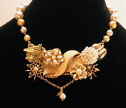 Special Necklace Jewelry Originals - Stunning Flower Statement Necklace with Pearls by Outre Art Stephanie Lubin Natalie Eisen