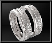 14k Jewelry - Stunning His And Hers 14K White Gold Matching Wedding Bands Set by Roi Avidar