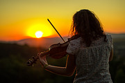 Violin Digital Art - Stunning Violin sunset by John Jamriska