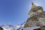 Stupa Prints - Stupa and Ama Dablam mountain in the Everest Region of Nepal Print by Robert Preston