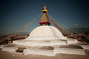 Tibetan Buddhism Prints - stupa Boudnath Print by Raimond Klavins