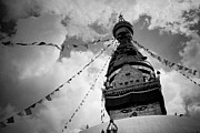 Tibetan Buddhism Framed Prints - Stupa Swayambhunath balck and white Framed Print by Raimond Klavins